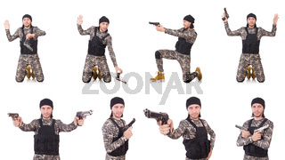Soldier with gun isolated on white