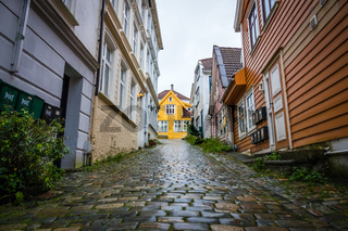 Narrow cobble stoned streets in the old part of Bergen town