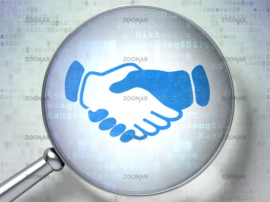 Business concept: Handshake with optical glass on digital background