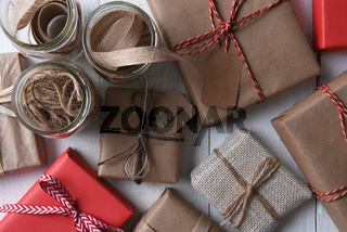 Top view of Holdiay Presents and Wrapping Supplies