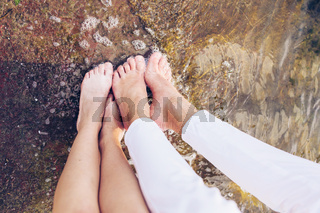 few feet in the water