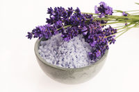 lavender bath salt and some fresh lavender