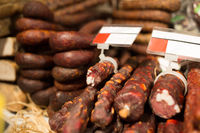 smoked meat products at market or butcher shop