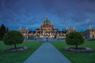 Evening View of Government House in Victoria BC in Canada Using Long Exposure