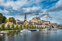 View of Auxerre at the river Yonne, Burgundy, France