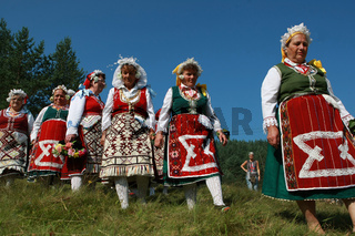 People in traditional folk costume of The National Folklore Fair in Koprivshtica