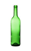 Close up empty green wine bottle isolated on white