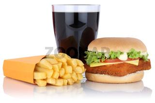 Fischburger Fisch Burger Backfisch Hamburger Menu Menü Menue Pommes Frites Cola Getränk Freisteller