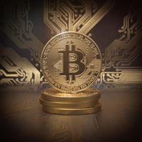 Bitcoin cryptocurrency golden coin background.