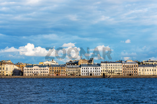 Old residential buildings on the embankment of the Neva River