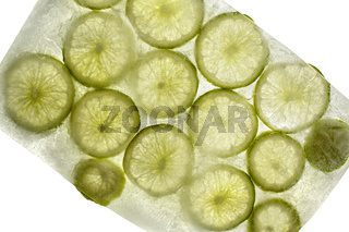 Slices of frozen Lime Fruit
