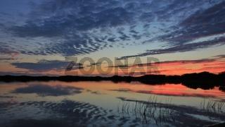 Summer sunset at Gronnestrand, Denmark.