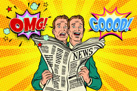 Good and bad newspaper news, the reaction of men