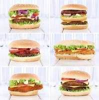 Hamburger Sammlung Collage Cheeseburger Burger frisch Käse Tomaten Salat