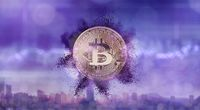 Bitcoin with a purple powder splash on a blurred background of the ultraviolet city