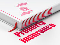 Insurance concept: book House And Palm, Property Insurance on white background