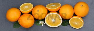Orangen Orange Frucht Früchte Banner Schieferplatte von oben