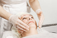 Woman at face massage