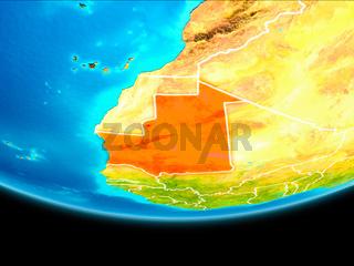 Satellite view of Mauritania