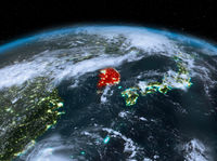 South Korea from space at night