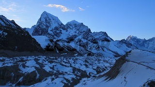 Early morning in Gokyo, Nepal. Ngozumpa glacier and mount Cholatse. Spring day.