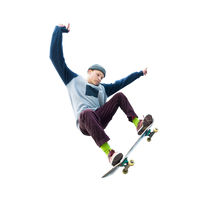 A teenager skateboarder jumps an ollie on an isolated white background. The concept of street sports and urban culture