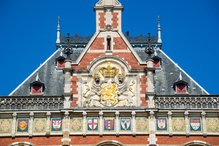 Beautiful buildings Amsterdam Central station.