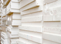 White panels of styrofoam for thermal insulation