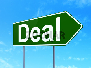 Finance concept: Deal on road sign background