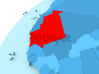 Mauritania on blue globe