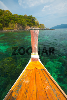 Boat Coral Reef Green Clear Ocean Thailand