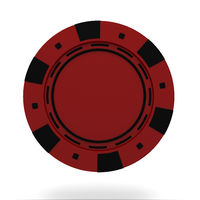 single red casino chip isolated on white background