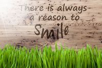 Bright Sunny Wooden Background, Gras, Quote Always Reason Smile