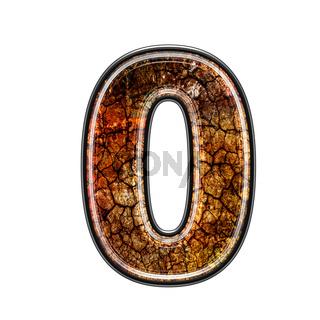 3d digit with grunge texture - 0