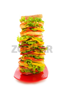 Huge sandwich isolated on the white background