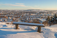 View of a Swedish city in the winter