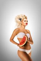 Bikini and watermelon.