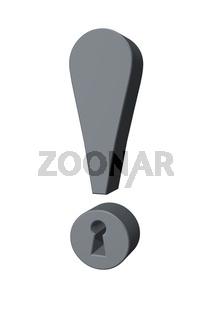 ausrufezeichen mit schlüsselloch auf weißem hintergrund - 3d illustration