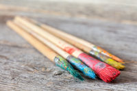 Dirty paint brushes close-up