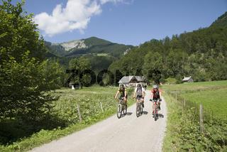 Mountainbiker im Bodinggraben bei deim Jagerhäusl im Nationalpark Kalkalpen, Oberösterreich, Österreich