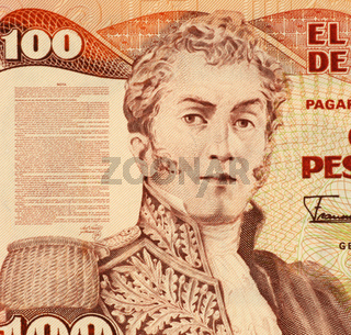 General Antonio Narino on 100 Pesos 1991 Banknote from Colombia