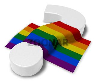 Gay Pride Flagge und fragezeichen - 3d rendering
