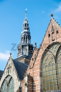 Facade of the Oude Kerk - Old Church in Amsterdam, the Netherlands.