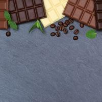 Schokolade Tafel Schiefertafel quadratisch Essen Textfreiraum von oben