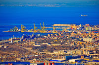 City of Trieste aerial view of industrial zone and harbor