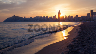 Golden sunset on the Poniente beach in Benidorm