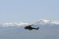 Military helicopter mountain