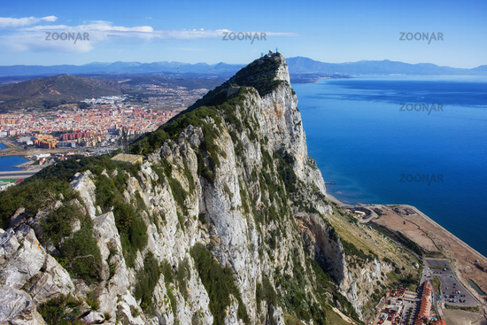 Rock of Gibraltar at Mediterranean Sea