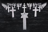 White stone graves disposed symmetrically