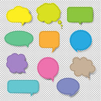 Colorful Speech Bubble Set Isolated Transparent Background